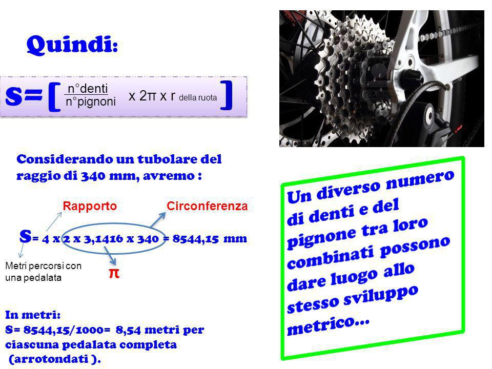 Quindi:S=[ ] n°denti. x 2π x r della ruota. n°pignoni. Considerando un tubolare del raggio di 340 mm, avremo :